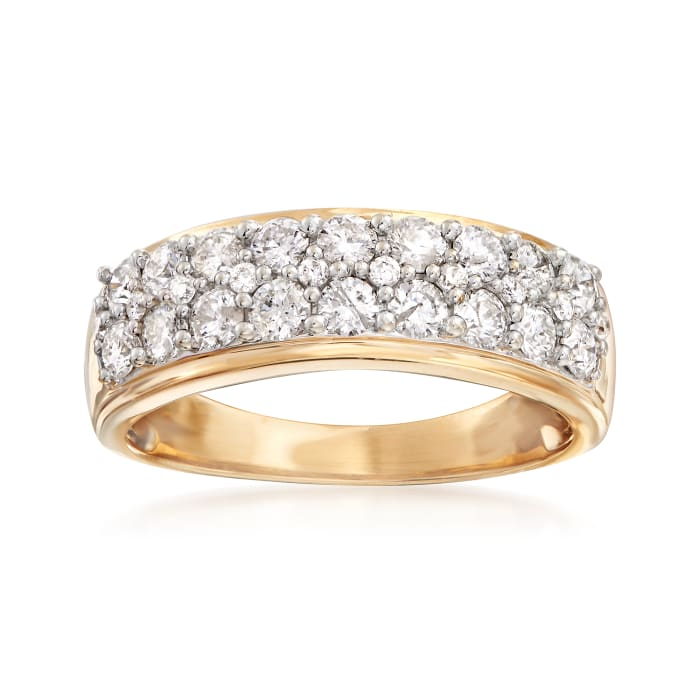 1.00 ct. t.w. Diamond Multi-Row Ring in 14kt Yellow Gold