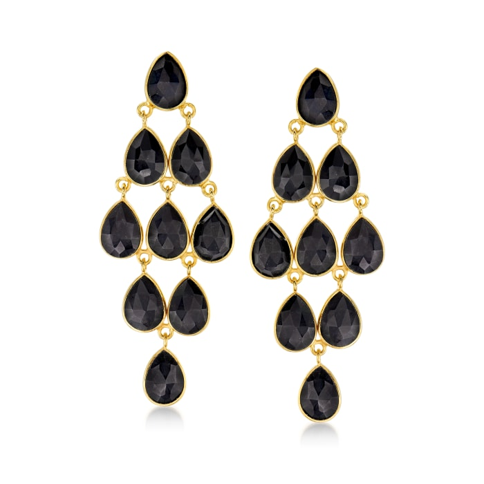 Black Onyx Chandelier Earrings in 18kt Gold Over Sterling