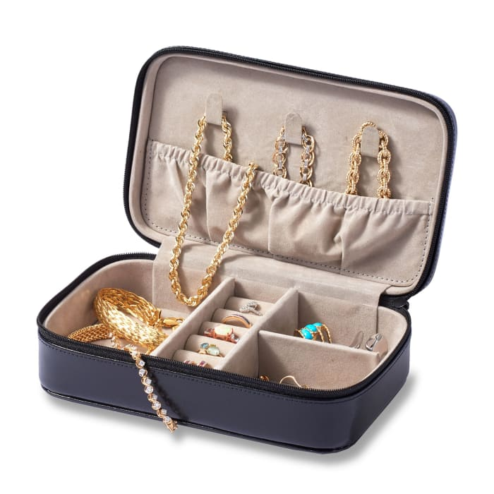Leather Three-Initial Jewelry Case