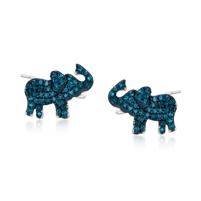 .25 ct. t.w. Blue Diamond Elephant Earrings in Sterling Silver