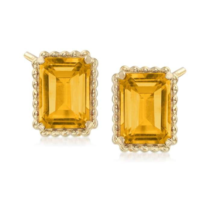 3.00 ct. t.w. Citrine and 14kt Yellow Gold Beaded Frame Earrings