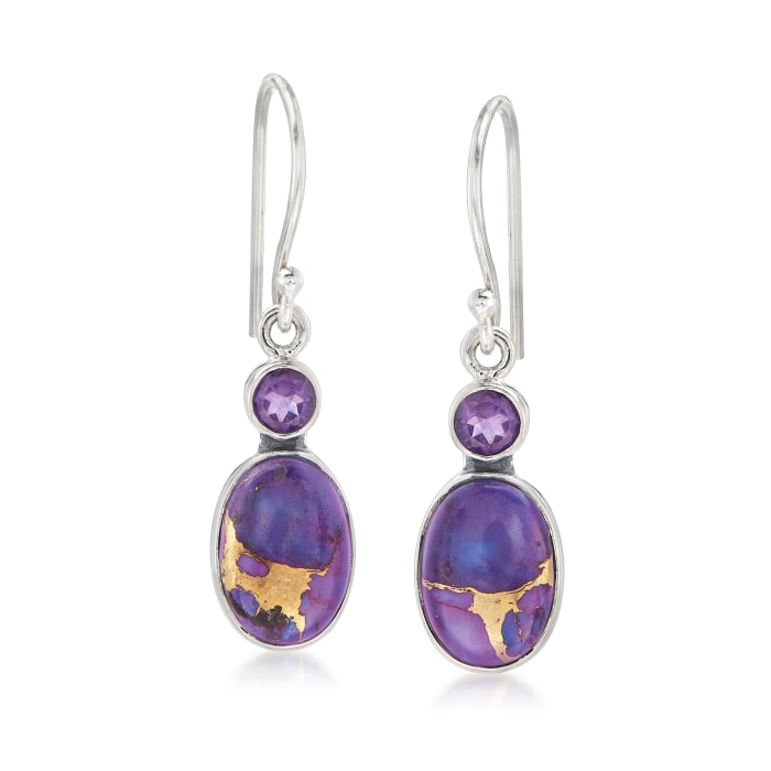 Purple Kingman Turquoise and Amethyst Drop Earrings in Sterling Silver