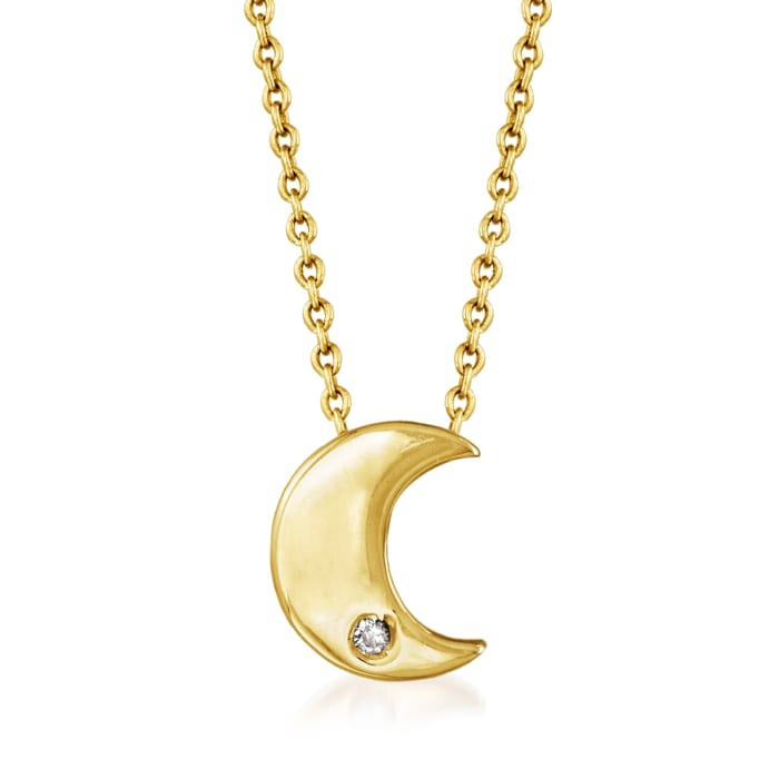 Italian 14kt Yellow Gold Crescent Moon Necklace with Diamond Accent