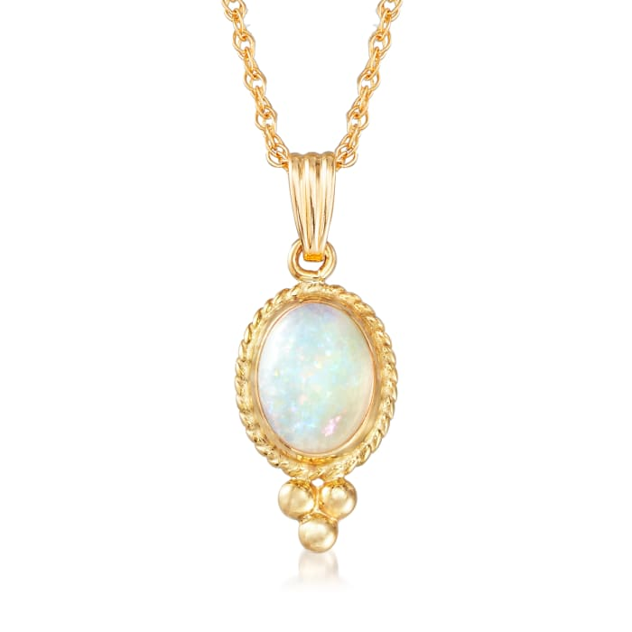 Opal Pendant Necklace in 14kt Yellow Gold