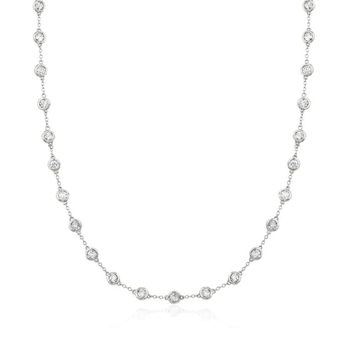 5.00 ct. t.w. Bezel-Set Diamond Station Necklace in 14kt White Gold