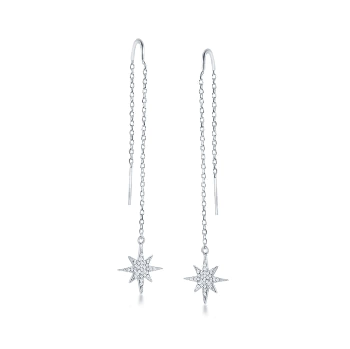 .40 ct. t.w. CZ Starburst Drop Threader Earrings in Sterling Silver