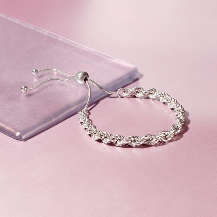 Italian 6mm Sterling Silver Rope Chain Bolo Bracelet