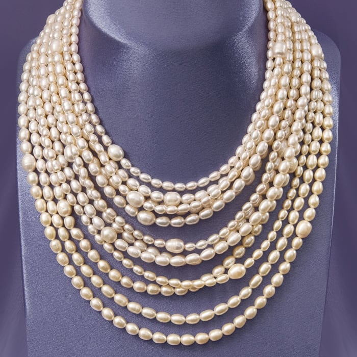 4-9mm Cultured Pearl Multi-Strand Necklace with Sterling Silver