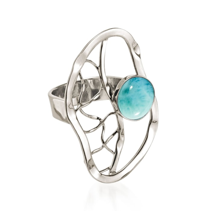Larimar Openwork Ring in Sterling Silver