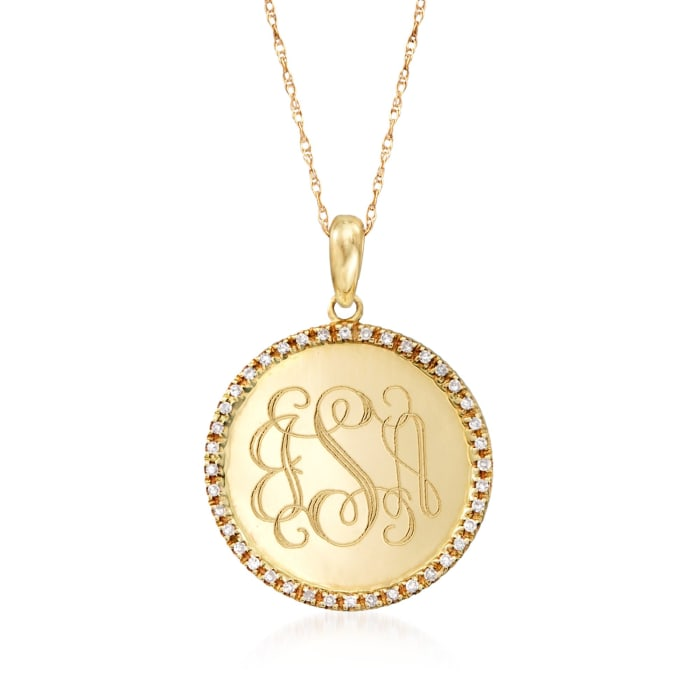 .12 ct. t.w. Diamond Engravable Disc Necklace in 14kt Yellow Gold