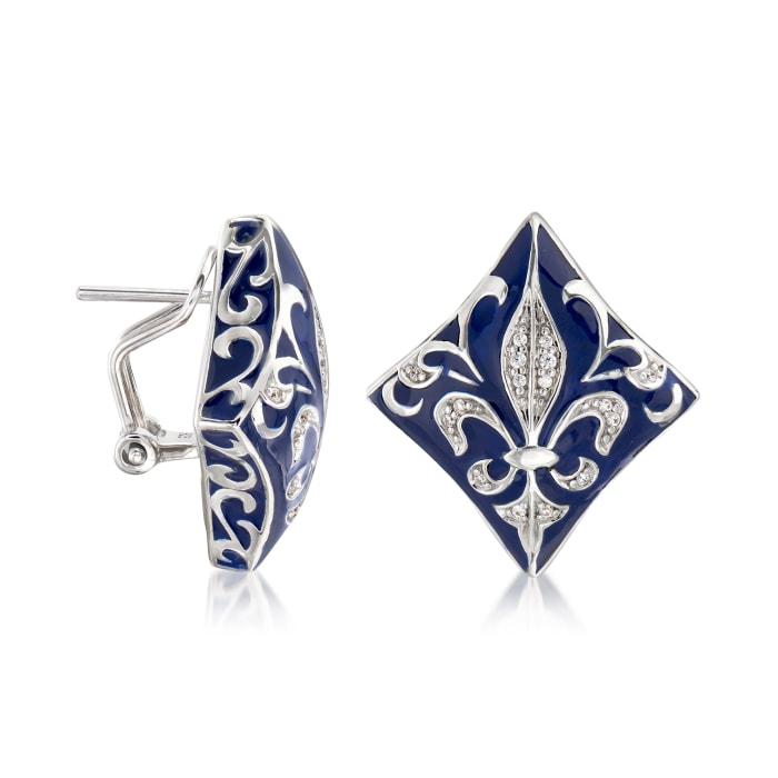 """Belle Etoile """"Josephine"""" Blue Enamel and .48 ct. t.w. CZ Earrings in Sterling Silver"""