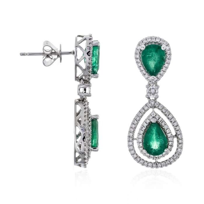 2.40 ct. t.w. Emerald and .60 ct. t.w. Diamond Drop Earrings in 14kt White Gold