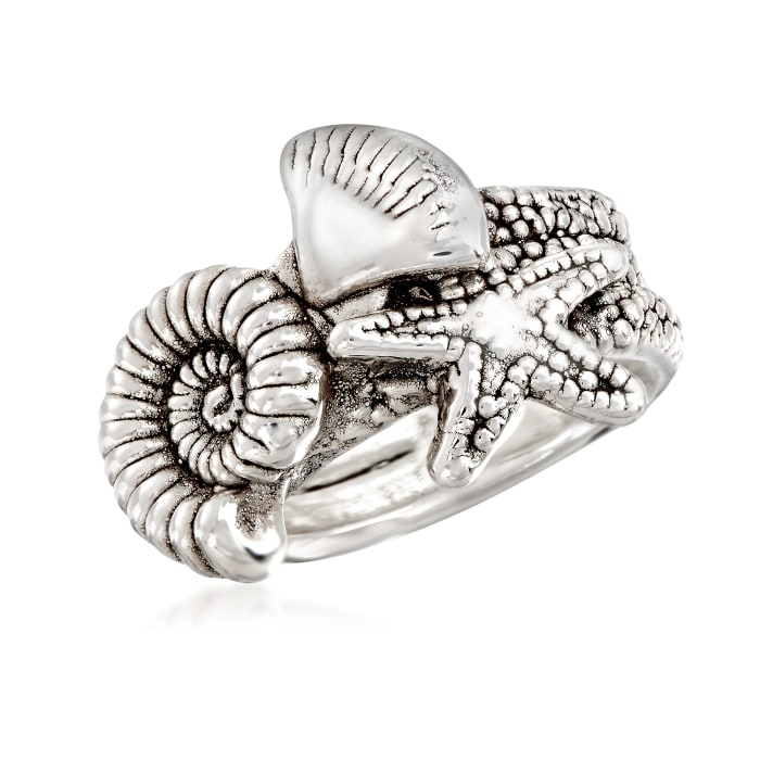 Sterling Silver Starfish and Seashell Ring