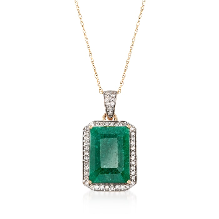 5.50 Carat Emerald and .25 ct. t.w. Diamond Pendant Necklace in 14kt Yellow Gold
