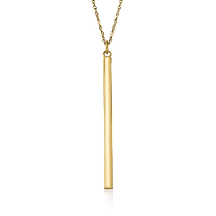 14kt Yellow Gold Vertical Bar Pendant Necklace