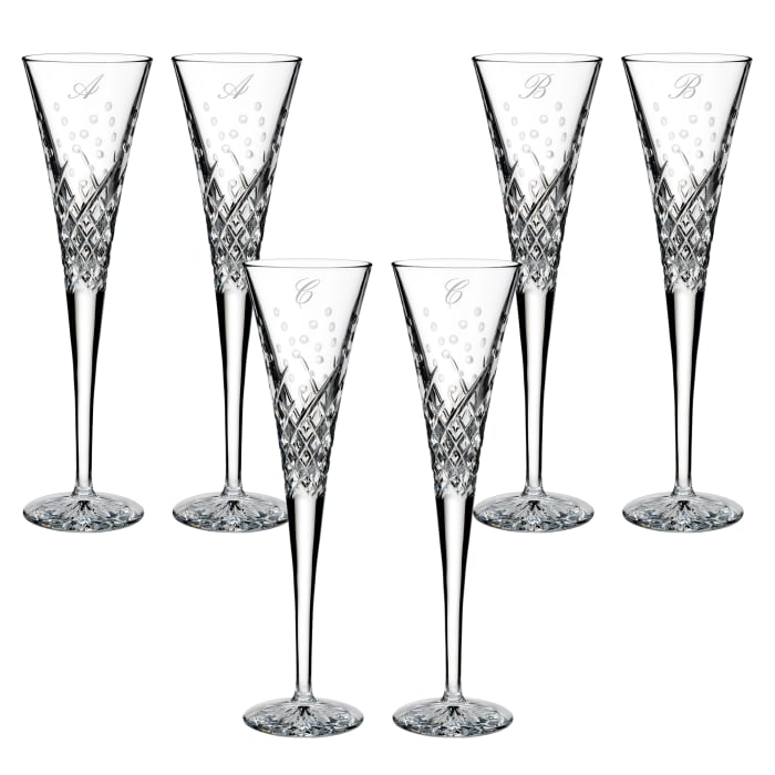 "Waterford Crystal ""Wishes Happy Celebrations"" Set of 2 Script Initial Toasting Flutes from Italy"