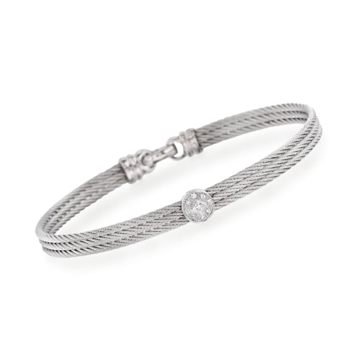 """ALOR """"Classique"""" Gray Cable Station Bracelet with Diamond Accents and 18kt White Gold"""