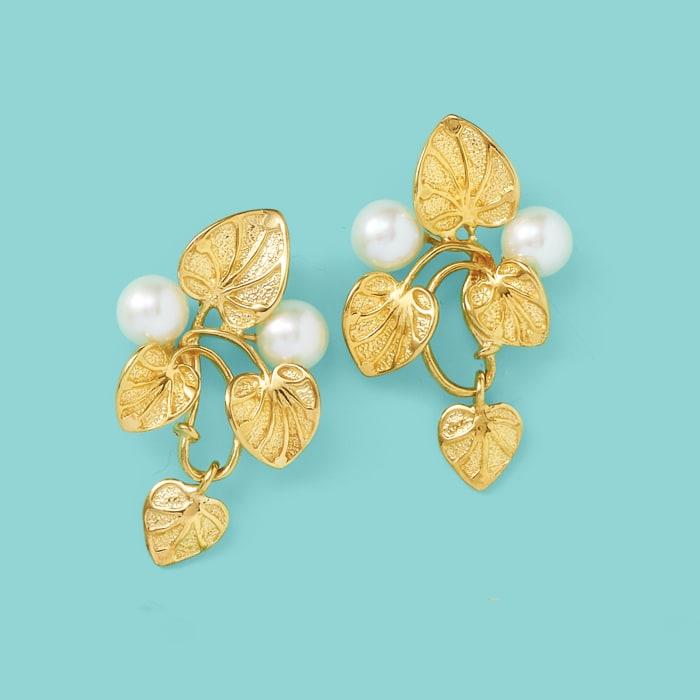 Italian 6mm Cultured Pearl Vine Drop Earrings in 18kt Gold Over Sterling