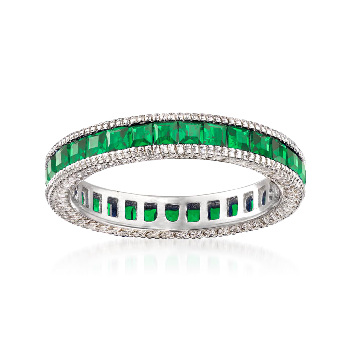 Simulated Emerald Eternity Band in Sterling Silver