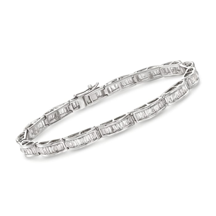 3.00 ct. t.w. Diamond Baguette Bracelet in 14kt White Gold