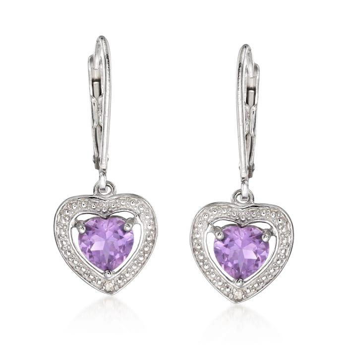 1.10 ct. t.w. Amethyst Heart Drop Earrings with Diamond Accents in Sterling Silver