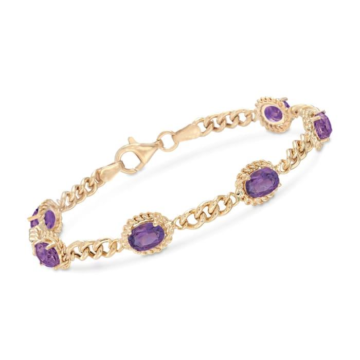 4.40 ct. t.w. Amethyst Link Bracelet in 18kt Gold Over Sterling Silver