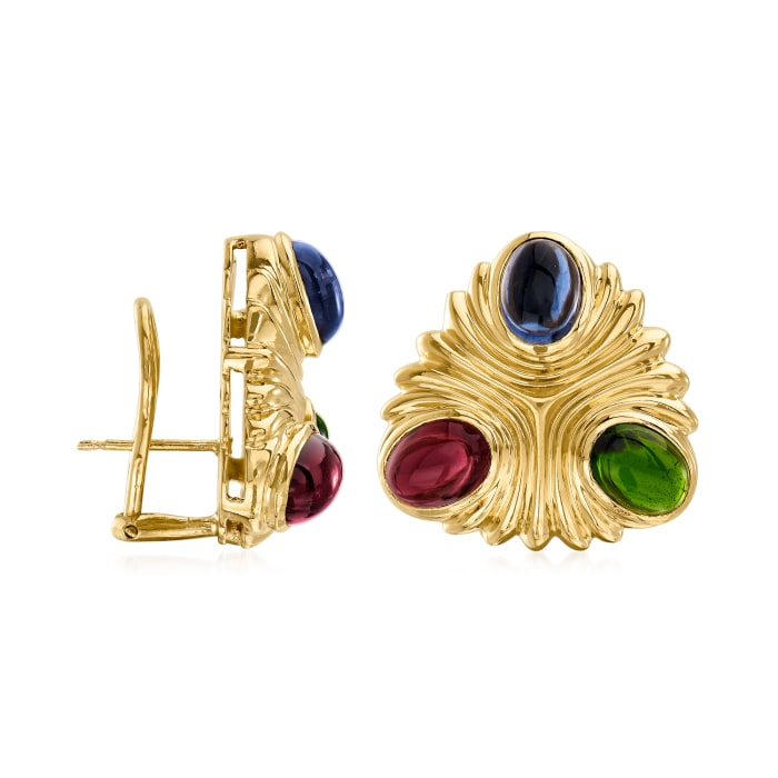 C. 1980 Vintage 5.80 ct. t.w. Pink and Green Tourmaline Earrings with 2.50 ct. t.w. Iolite in 18kt Yellow Gold