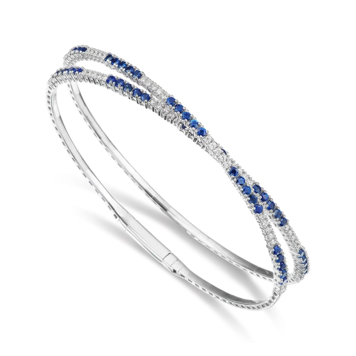 2.50 ct. t.w. Sapphire and .52 ct. t.w. Diamond Wrap Bracelet in 18kt White Gold