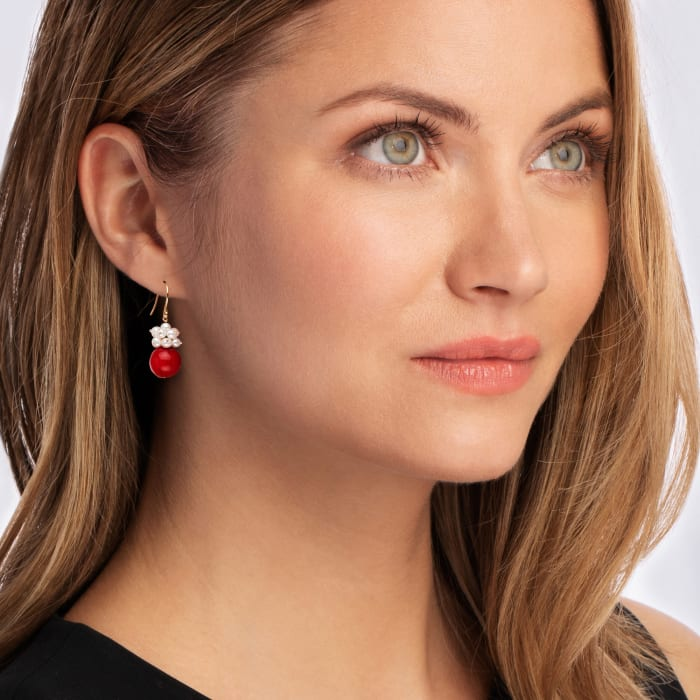 10-10.5mm Red Coral and 3-4mm Cultured Pearl Cluster Drop Earrings in 14kt Yellow Gold