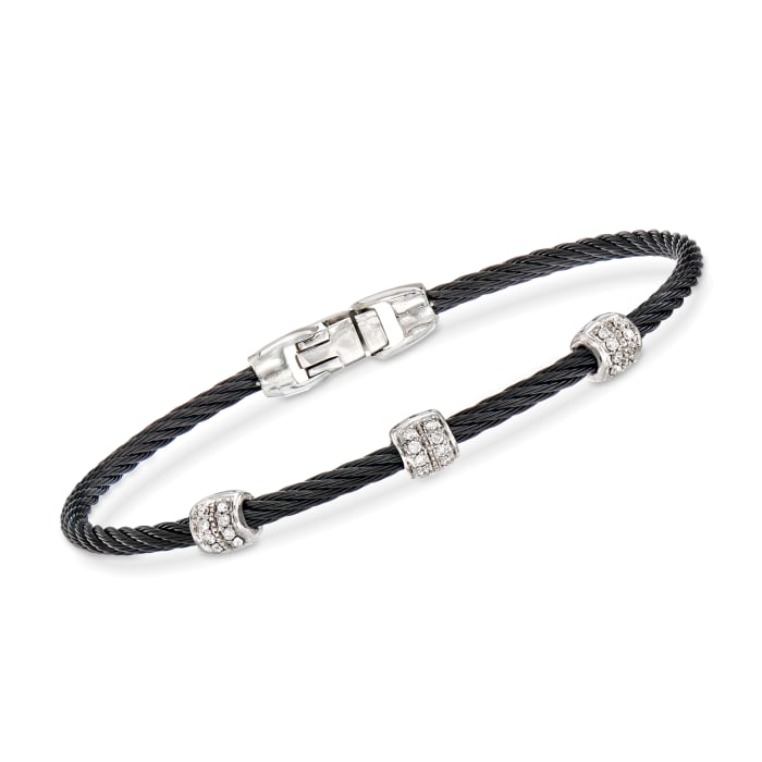 """ALOR """"Classique"""" Black Stainless Steel Cable Station Bracelet with .21 ct. t.w. Diamonds and 18kt White Gold"""
