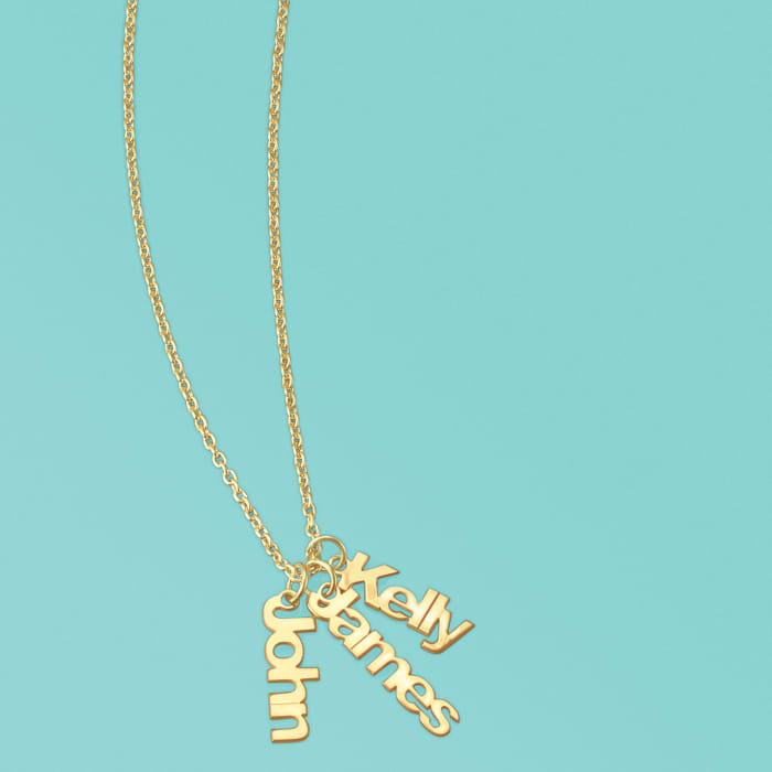 14kt Yellow Gold Personalized Name Charm Necklace