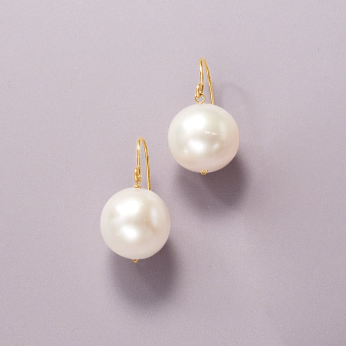 11mm Cultured Pearl Drop Earrings in 14kt Yellow Gold