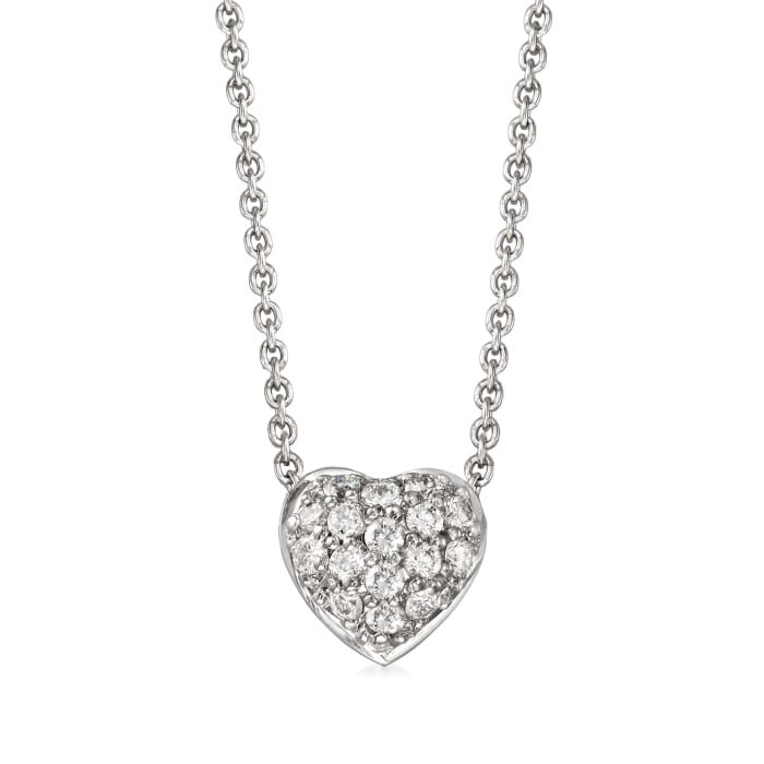 """Roberto Coin """"Tiny Treasures"""" .15 ct. t.w. Diamond Puffed Heart Necklace in 18kt White Gold"""