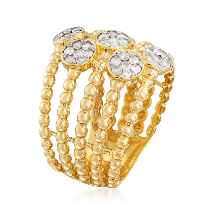.50 ct. t.w. Diamond Cluster Beaded Ring in 14kt Yellow Gold