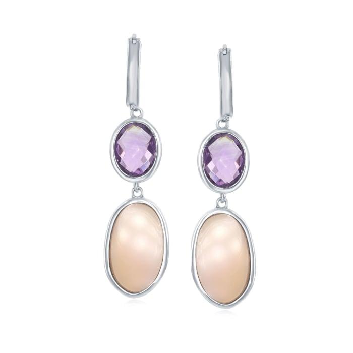 Pink Mother-Of-Pearl and 3.30 ct. t.w. Amethyst Hoop Drop Earrings in Sterling Silver