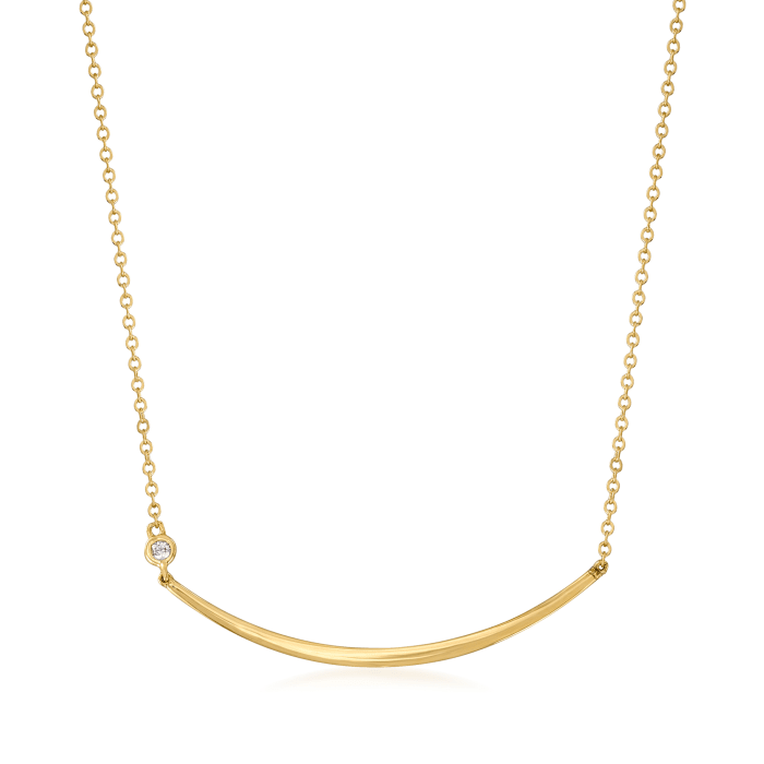 14kt Yellow Gold Curved Bar Necklace with Diamond Accent