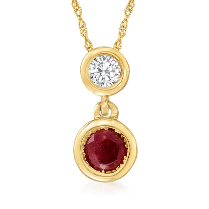 .20 Carat Ruby and .12 Carat Diamond Pendant Necklace in 14kt Yellow Gold