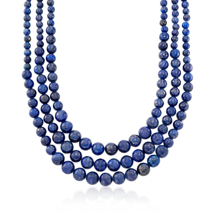 4-10mm Graduated Blue Lapis Multi-Strand Bead Necklace with Sterling Silver