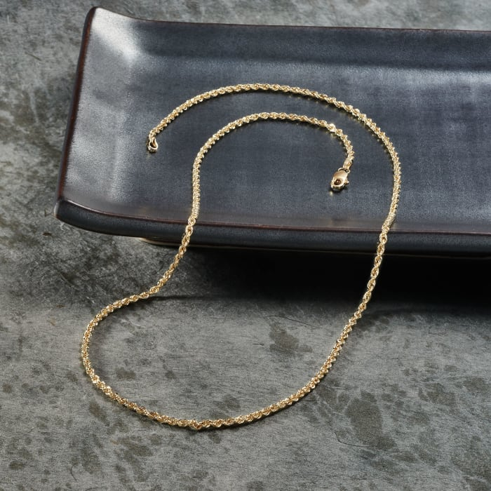 2mm 14kt Yellow Gold Rope Chain Necklace