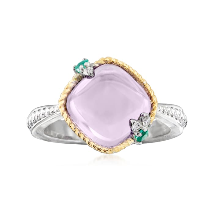 """Andrea Candela """"Dulcitos"""" 4.00 Carat Amethyst and Emerald-Accented Ring in Sterling Silver and 18kt Yellow Gold"""