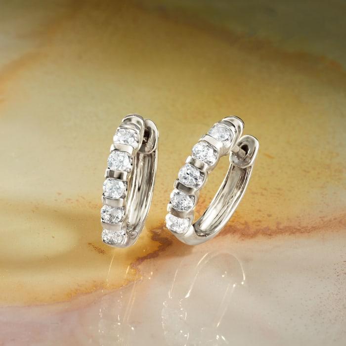 .50 ct. t.w. Diamond Huggie Hoop Earrings in 14kt White Gold