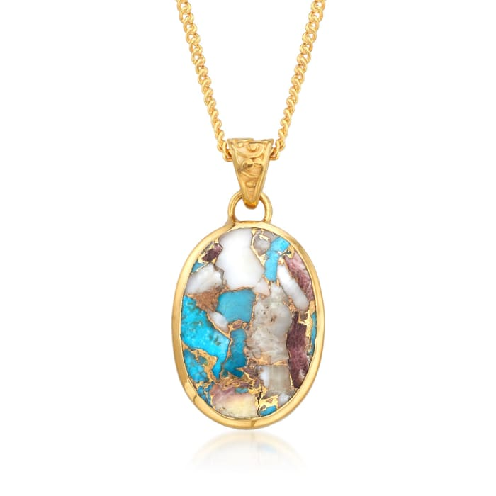 Oval Kingman Turquoise Pendant Necklace in 18kt Gold Over Sterling