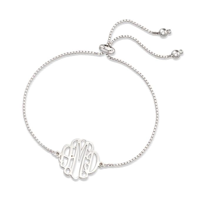 Sterling Sterling Small Monogram Box Chain Bolo Bracelet