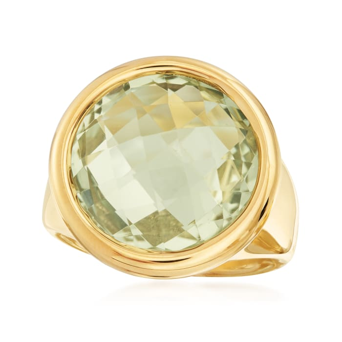 Italian Andiamo 13.00 Carat Prasiolite Ring in 14kt Yellow Gold Over Resin