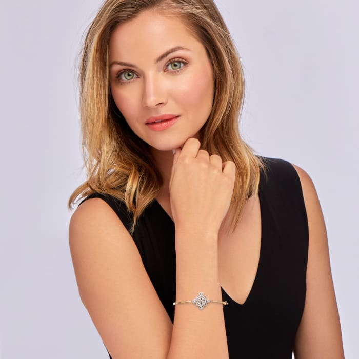 .65 ct. t.w. Diamond Floral Bangle Bracelet in 18kt Gold Over Sterling