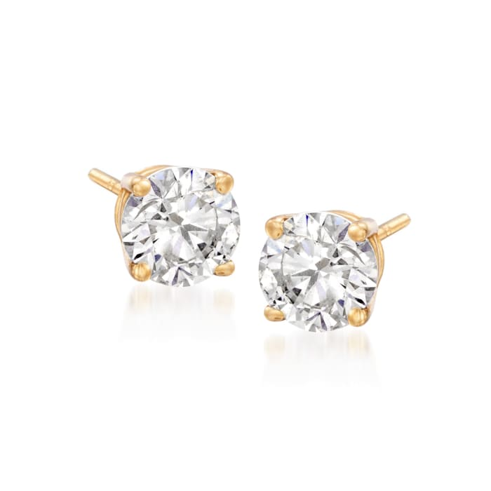 6.00 ct. t.w. CZ Jewelry Set: Three Pairs of Stud Earrings in 14kt Yellow Gold