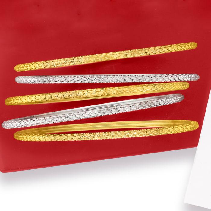 Italian 14kt Two-Tone Gold Jewelry Set: Five Bangle Bracelets