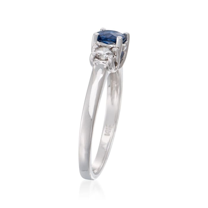 .80 Carat Sapphire and .30 ct. t.w. Diamond Ring in 14kt White Gold