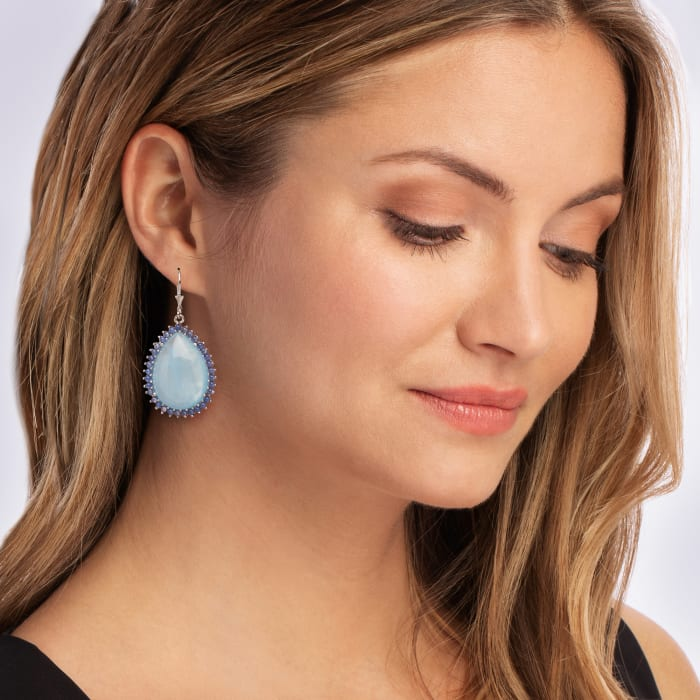 17.00 ct. t.w. Milky Aquamarine and 2mm Blue Agate Drop Earrings in Sterling Silver