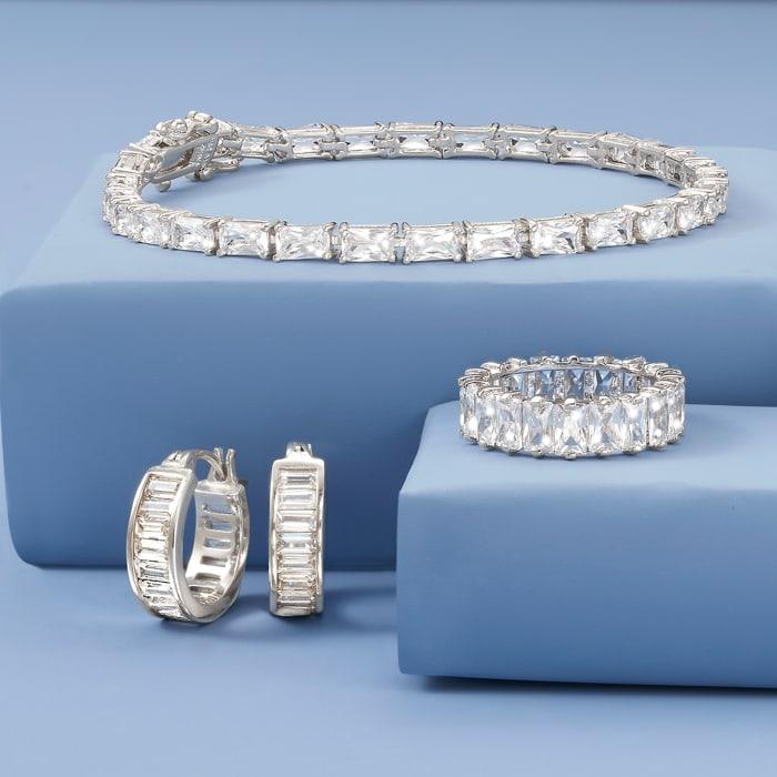 7.50 ct. t.w. Baguette CZ Tennis Bracelet in Sterling Silver